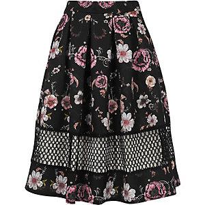 Zwarte rok met bloemenprint en mesh inzetstuk