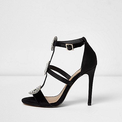 Black rhinestone embellished caged sandals
