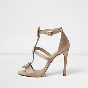 Light pink diamante embellished caged sandals