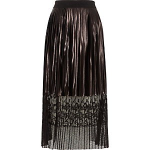 Silver metallic pleated lace hem midi skirt