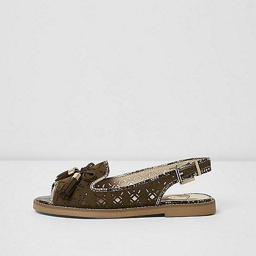Khaki wide fit laser cut slingback loafers
