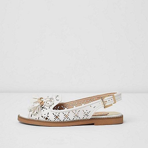 White wide fit laser cut slingback loafers