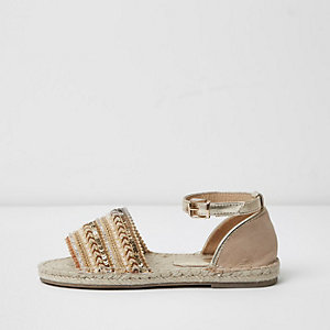 Gold embellished wide fit espadrilles