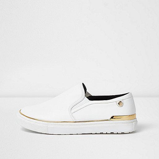 White wide fit slip on plimsolls