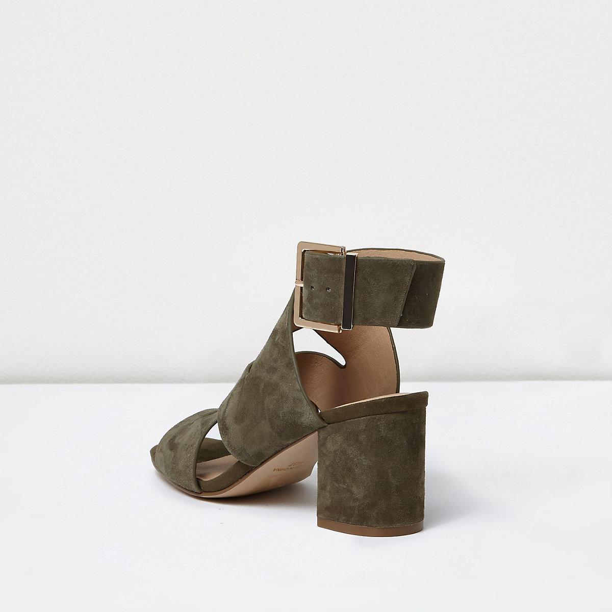 4de71d91932 Khaki crossover wide fit block heel sandals - Sandals - Shoes   Boots -  women