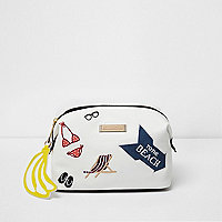 White 'to the beach' badged make up bag