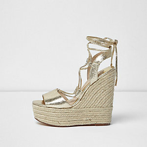 Gold wide fit tie espadrille platform wedges