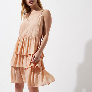 Light orange tiered frill midi slip dress