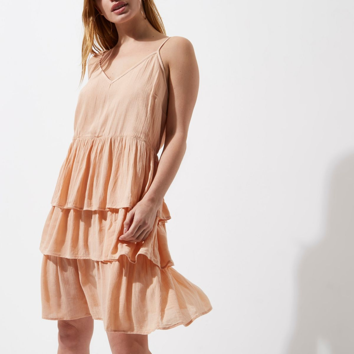 Petite orange tiered frill midi slip dress