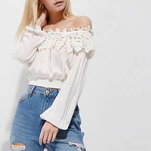 Petite white bardot crochet long sleeve top