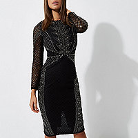 Black embellished long sleeve bodycon dress