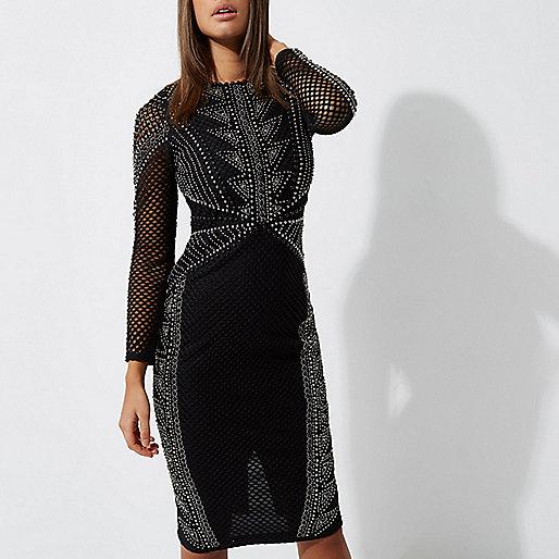 Schwarzes, verziertes Bodycon-Kleid mit langen Ärmeln
