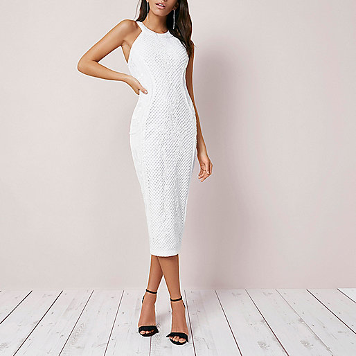 White embroidered bodycon midi dress