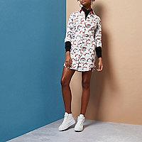 White Design Forum hand print shirt dress