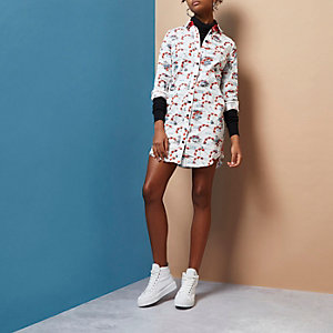 White Design Forum hand print shirt dress