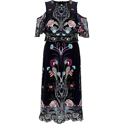 Navy floral embroidered mesh midi prom dress