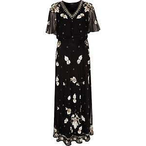 Black mesh sequin embellished cape maxi dress