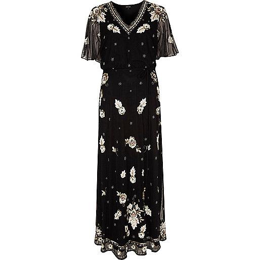 Black mesh sequin embellished cape maxi dress