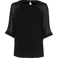 Black chiffon raglan sleeve T-shirt