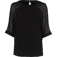 T-shirt en mousseline noir à manches raglan