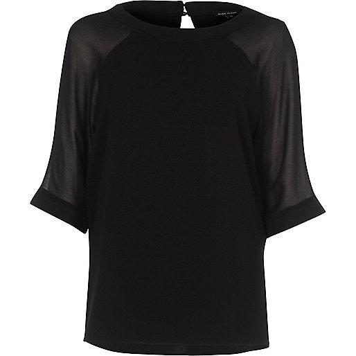 Schwarzes T-Shirt mit Raglanärmeln aus Chiffon