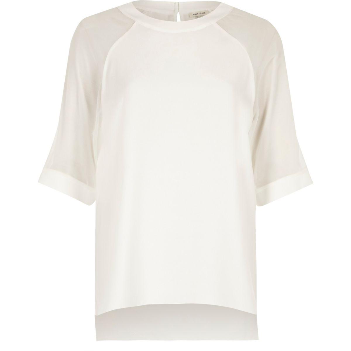 White chiffon sleeve top
