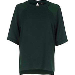 T-shirt en mousseline vert foncé à manches raglan