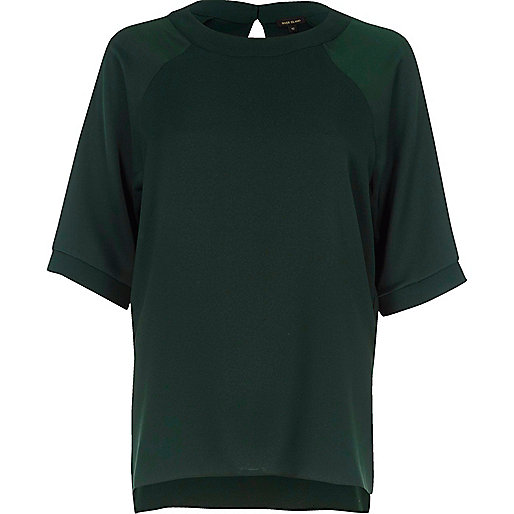 Dark green chiffon raglan sleeve T-shirt