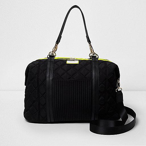 Sportieve tas dames : Zwarte doorgestikte sportieve weekendtas koffers