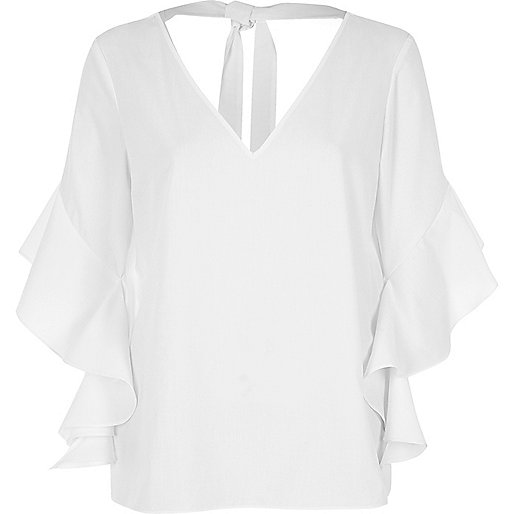 White frill sleeve tie back top