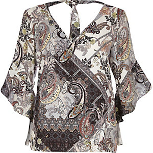 Brown paisley ruffle sleeve tie back top