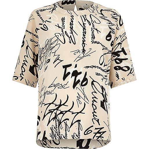 Cream word print chiffon T-shirt