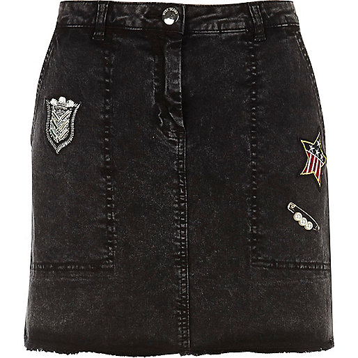 Dark grey badged mini skirt