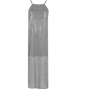 Silver sequin maxi cami slip dress