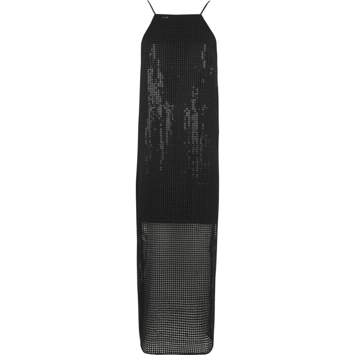 Zwarte lange cami-slipjurk met lovertjes