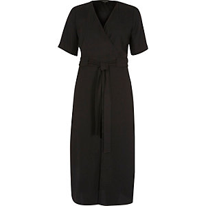 Black short sleeve tie waist midi wrap dress