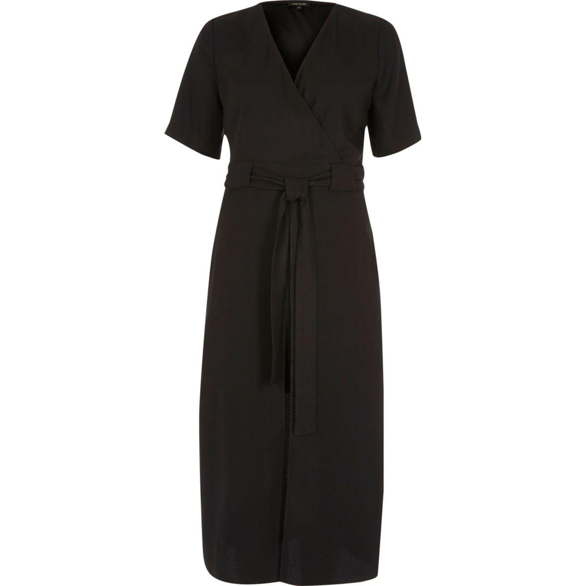 Black wrap short sleeve midi dress