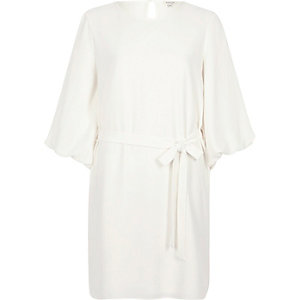 Cream tie waist puff sleeve swing dress