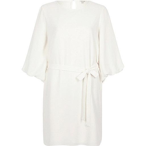 Cream tie waist puff sleeve swing dress