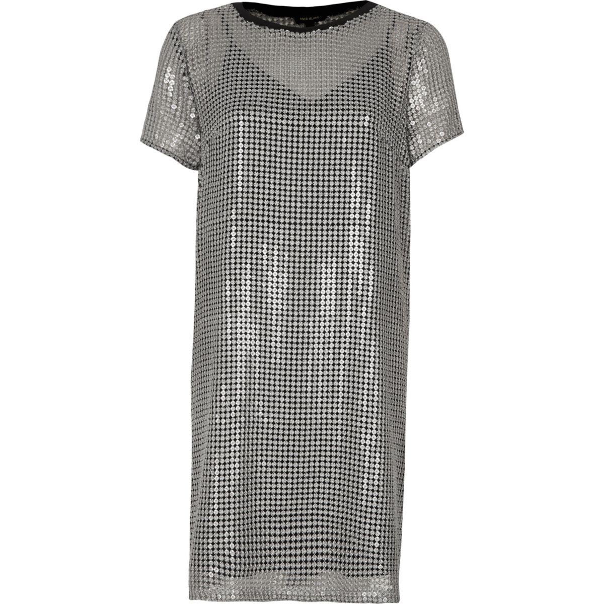 Silver sequin t shirt dress dresses sale women for Sequin t shirt changing