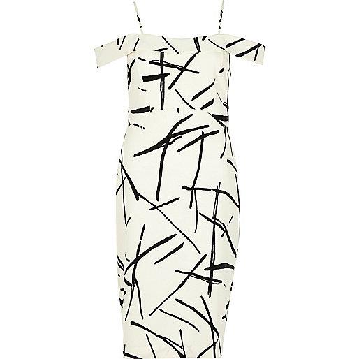 White abstract print bardot bodycon dress
