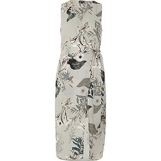 Robe mi-longue à fleurs grise coupe croisée avec ceinture