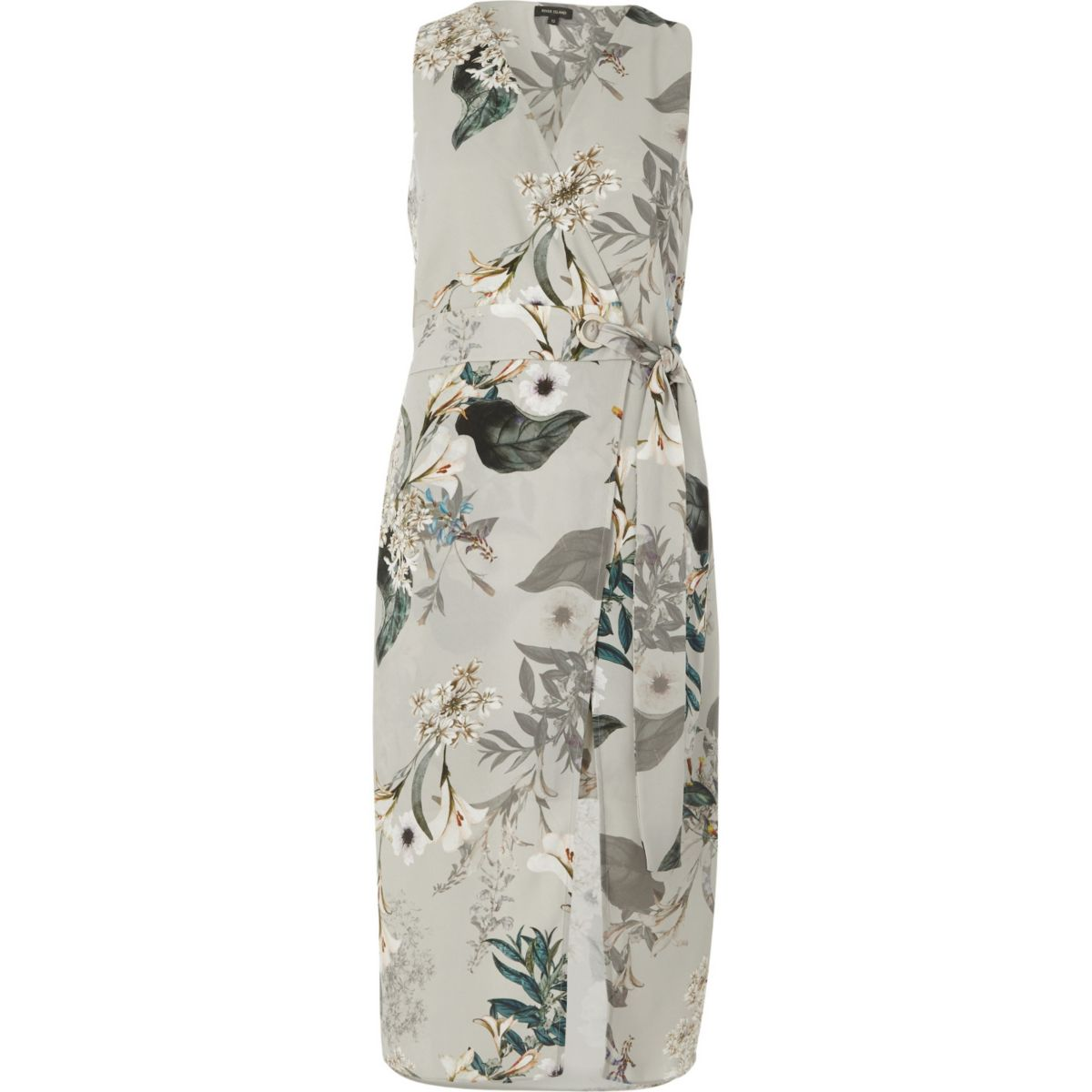 Grey floral tie waist wrap midi dress