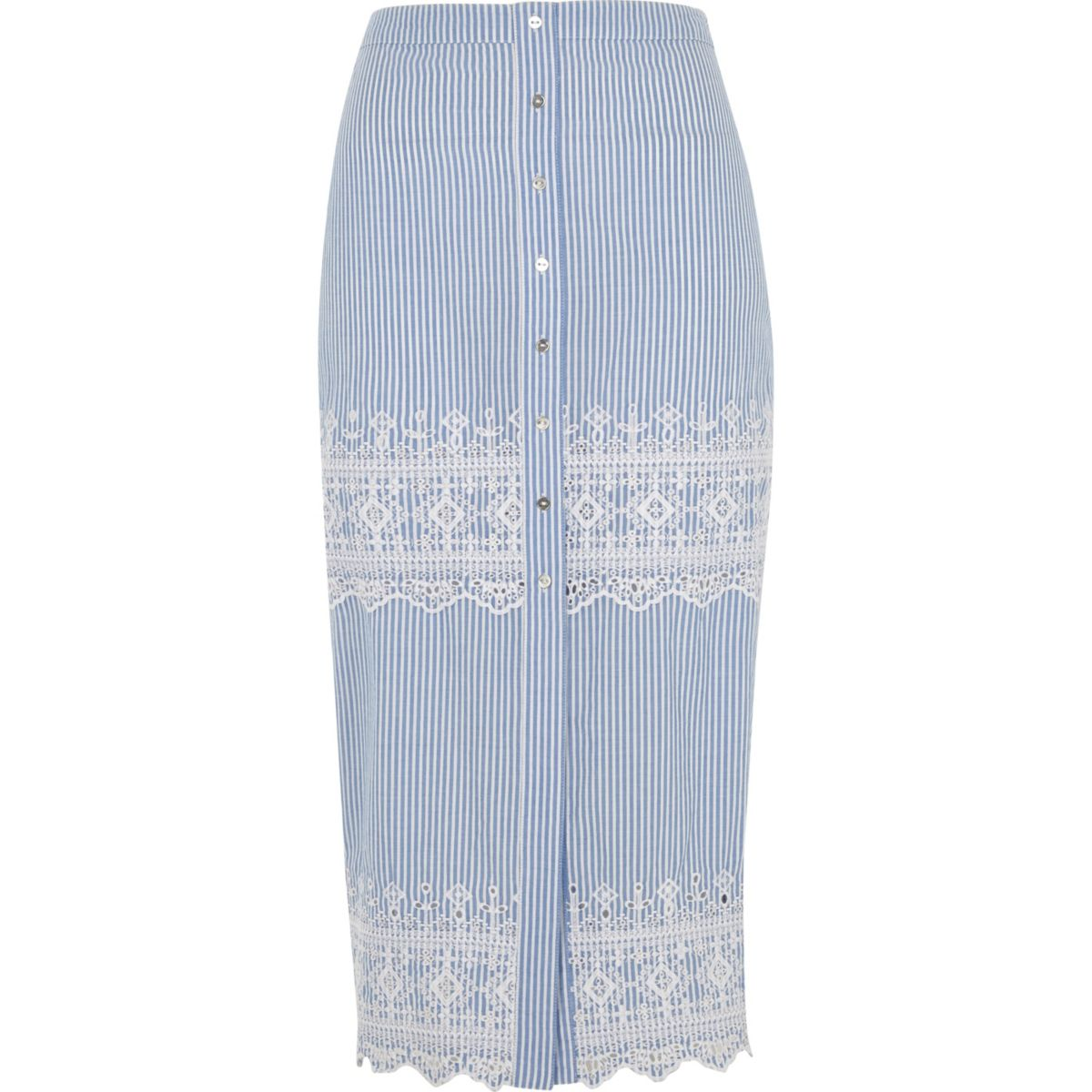 Blue stripe embroidered midi skirt