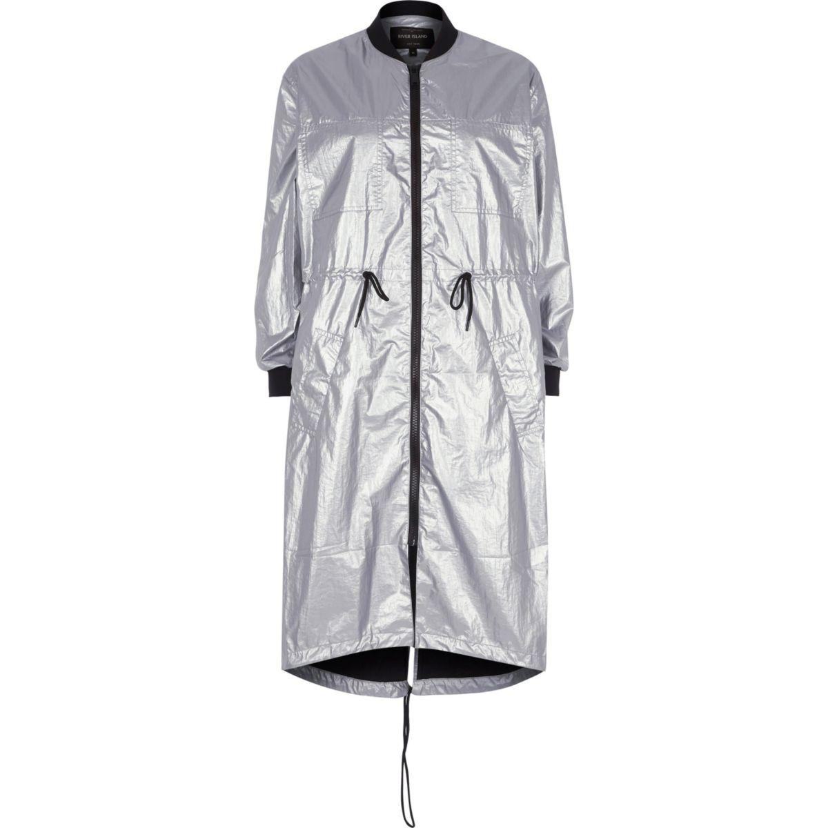 Silver metallic longline anorak jacket