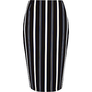 Blue stripe midi pencil skirt