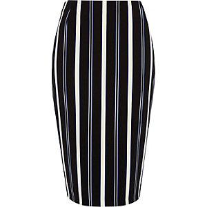 Blue stripe midi pencil skirt