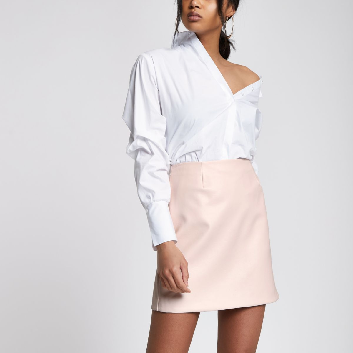 Light pink faux leather skirt