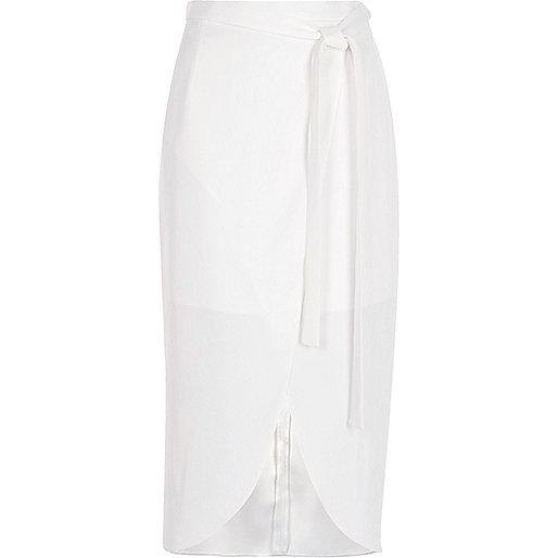 White tie waist wrap midi skirt