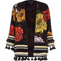 Kimono à fleurs noir bordé de pampilles